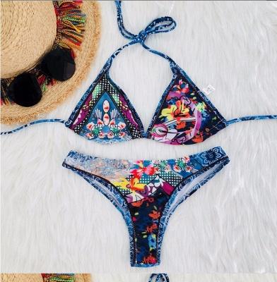 Women Strappy  Floral Print Padding Wireless Sexy Bikini Set Swimwear Swimsuits_2