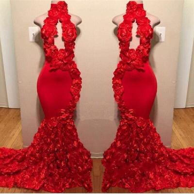 Elegant Florals Halter Sleeveless Long Prom Dress UKes UK UK | Red Keyhole Elegant Trumpt Evening Dress UKes UK_2