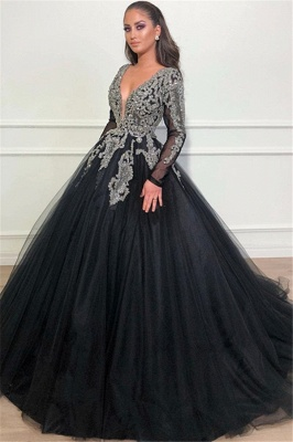 Timeless Black Ball Gown Seductive Deep Sexy V-Neck Long Sleeves Lace Appliques Overskirt Affordable Evening Dress UKes UK UK_1