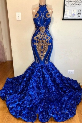 Royal Blue Halter Elegant Trumpt Prom Dress UKes UK UK | Luxury Sleeveless Florals Long Evening Dress UKes UK_1