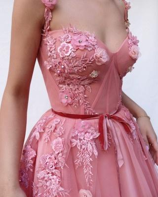Pink Luxury A-line Spaghetti Tulle Flower Applique Prom Dress UKes UK UK_3