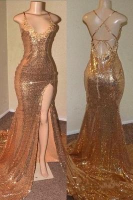 Sequins Sleeveless Front Slit Floor Length Elegant Trumpt Dress UKes UK_1