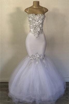 Elegant Mermaid Strapless Tulle Applique Timeless Prom Dress UKes UK UK_1