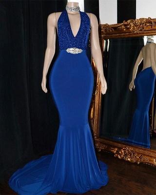 Elegant Halter Sleeveless Elegant Trumpt Prom Dress UKes UK UK   V-Neck Lace Appliques Crystal Evening Dress UKes UK_2