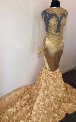 Elegant Hot Mermaid with Sleeves Flower Applique Champagne Prom Dress UKes UK UK_1