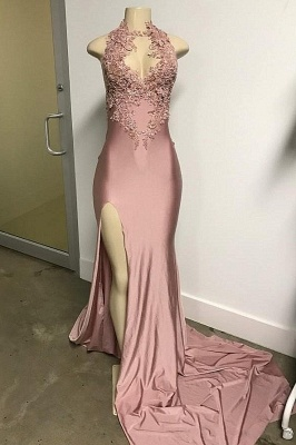Pink Sleeveless Front Slit Appliqued Long Elegant Mermaid Prom Dress UKes UK UK_1