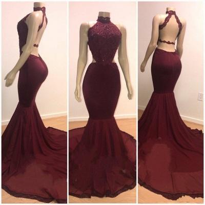 Lace Top High Neck Elegant Trumpt Long Wine Red Maroon Prom Dress UKes UK UK_3