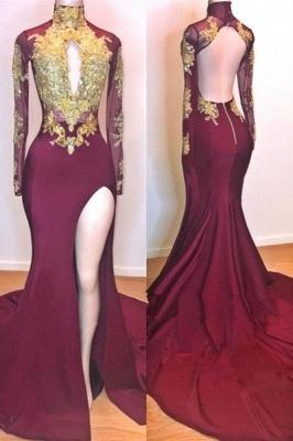 Wine Red Maroon Gold Lace Appliques Evening Dress UKes UK   Long Sleeves Side Slit Open Back Elegant Trumpt Prom Dress UKes UK UK_1