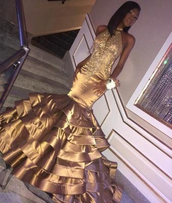 Amazing Gold Elegant Mermaid High Neck Sleeveless Ruffles Sparkly Crystal Prom Dress UKes UK UK_2