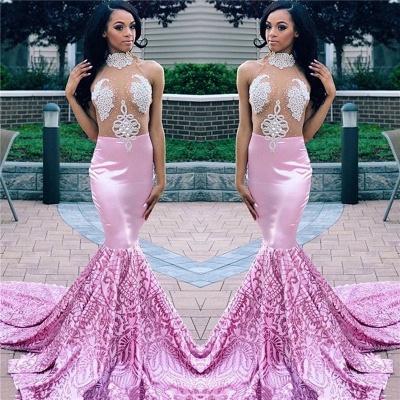 Elegant Pink Elegant Mermaid High Neck Sleeveless Sheer Tulle Applique Prom Dress UKes UK UK_3