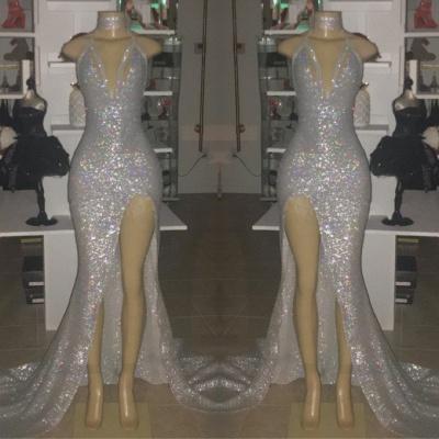V-neck Sequins Elegant Trumpt Front Slit Floor Length Prom Dress UKes UK UK_2