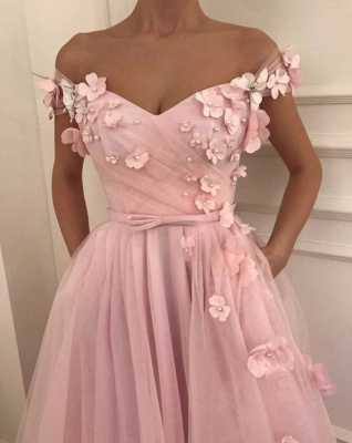 Sweet Pink Florals A-Line Tulle Long Sexy Prom Dress UK | Sexy Off-the-Shoulder Evening Dress UKes UK_2