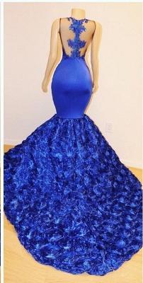 Royal-Blue Florals Elegant Trumpt Long Evening Dress UKes UK | Simple Sleeveless With Lace Appliques Prom Dress UKes UK UK_3