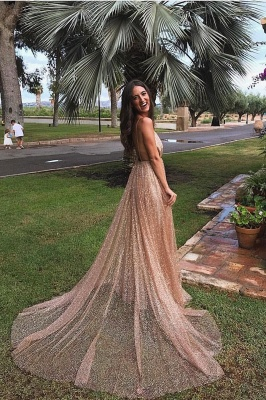 Simple Sequins A-Line Long Prom Gowns | Spaghetti Straps V-Neck Evening Dress UK_1