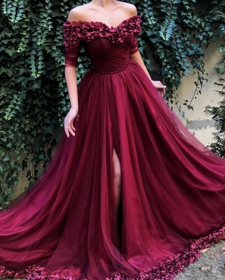 Burgundy Maroon A-line Off The Shoulder Tulle Flower Applique Prom Dress UKes UK UK_2