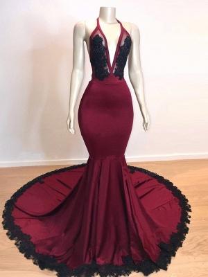 Wine Red Maroon V-neck Halter Lace Appliques Long Elegant Trumpt Evening Dress UKes UK_4