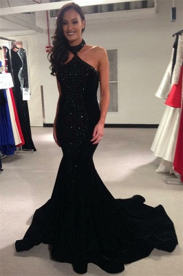 Timeless black Halter Crystal Lace Appliques Elegant Trumpt Prom Dress UKes UK UK   Elegant Sleeveless Open-Back Evening Dress UKes UK_1