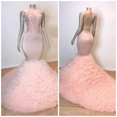 Sweet Pink Halter Sleeveless Elegant Trumpt Prom Dress UKes UK UK | Chic Open Back Lace Tulle Evening Dress UKes UK_4