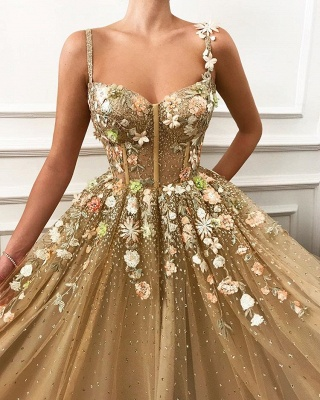 Amazing A-line Spaghetti Straps Flower Bridal Gowns_2