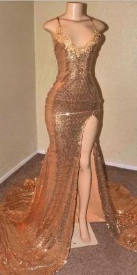 Sequins Sleeveless Front Slit Floor Length Elegant Trumpt Dress UKes UK_4