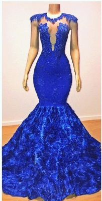 Royal-Blue Florals Elegant Trumpt Long Evening Dress UKes UK | Simple Sleeveless With Lace Appliques Prom Dress UKes UK UK_2