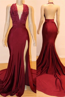 Elegant Backless Burgundy Maroon Prom Dress UKes UK UK with Slit | Sexy V-Neck Halter Affordable Evening Gowns with Court Train_1
