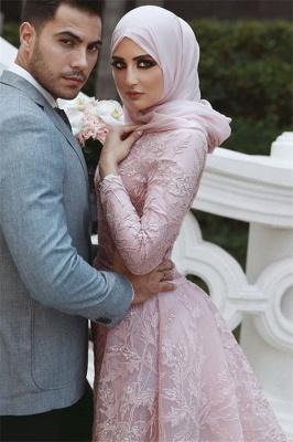 Sweet Pink Detachable Long-Sleeves Prom Dress UKes UK UK | Sexy Lace Appliques Lace Elegant Trumpt Evening Dress UKes UK_2