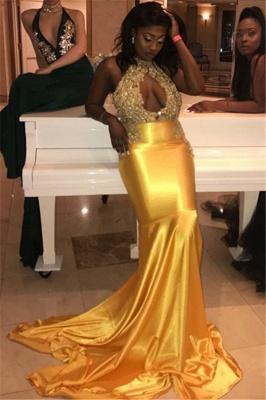 Simple Halter High-Neck Lace Appliques Sexy Prom Dress UKes UK UK | Elegant Sleeveless Keyhole Elegant Trumpt Evening Dress UKes UK_1