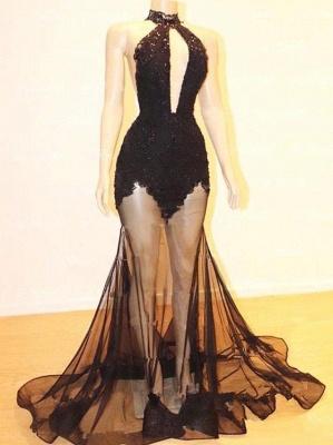 Elegant Halter Lace See Through Long Elegant Mermaid Prom Dress UKes UK UK_3