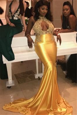 Simple Halter High-Neck Lace Appliques Sexy Prom Dress UKes UK UK | Elegant Sleeveless Keyhole Elegant Trumpt Evening Dress UKes UK_2