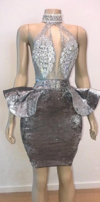 Halter Keyhole Neckline Lace Appliqued Short Prom Dress UKes UK UK_1