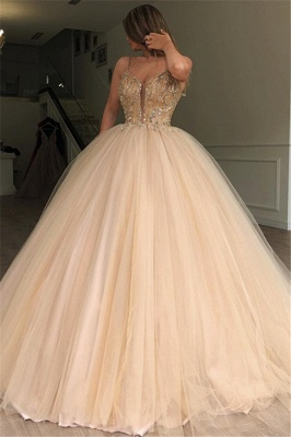 Sexy Ball Gown Spaghetti Straps Sleeveless Beads Champagne Bridal Gowns_1