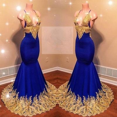 Lace Appliques Spaghetti Sleeveless V-neck Elegant Trumpt Prom Dress UKes UK UK_3