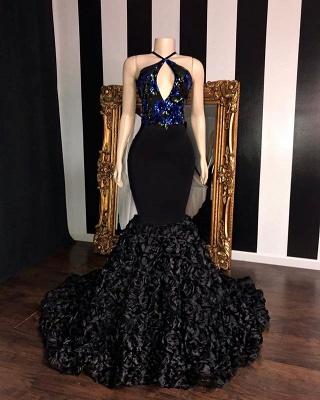 Timeless black Sleeveless Florals Elegant Trumpt Prom Dress UKes UK UK | Sexy Halter Sequins Lace Appliques Evening Dress UKes UK_2