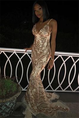 Elegant Sexy V-Neck Spaghetti Straps Sleeveless Gold Lace Appliques Elegant Mermaid Prom Dress UKes UK UK_1
