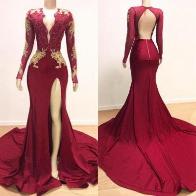 Alluring Deep V-neck Long Sleeves Lace Appliques Split Elegant Trumpt Evening Dress UKes UK_4