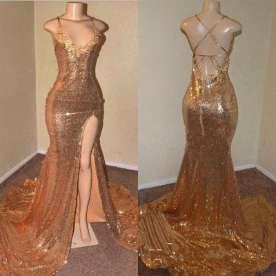 Sequins Sleeveless Front Slit Floor Length Elegant Trumpt Dress UKes UK_3
