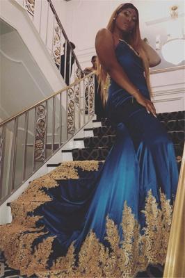Elegant Royal Blue Lace Appliques Open-Back Evening Dress UKes UK | Spaghetti-Straps Sleeveless Elegant Trumpt Prom Dress UKes UK UK_1