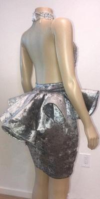 Halter Keyhole Neckline Lace Appliqued Short Prom Dress UKes UK UK_5