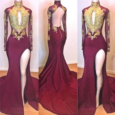 Wine Red Maroon Gold Lace Appliques Evening Dress UKes UK   Long Sleeves Side Slit Open Back Elegant Trumpt Prom Dress UKes UK UK_2