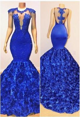 Royal-Blue Florals Elegant Trumpt Long Evening Dress UKes UK | Simple Sleeveless With Lace Appliques Prom Dress UKes UK UK_1