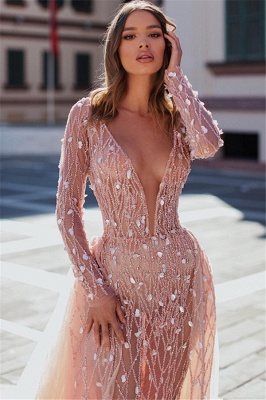 Sexy Pink Elegant Mermaid Seductive Deep Sexy V-Neck Long Sleeves Sparkly Crystal Prom Dress UKes UK UK With Detachable Skirt_2
