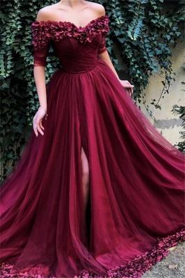 Burgundy Maroon A-line Off The Shoulder Tulle Flower Applique Prom Dress UKes UK UK_1