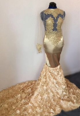 Elegant Hot Mermaid with Sleeves Flower Applique Champagne Prom Dress UKes UK UK_2