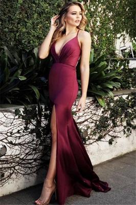 Wine Red Maroon Spaghetti-Straps V-Neck Evening Dress UK   Sexy Side-Slit Sleeveless Sheath Prom Dress UKes UK UK_1