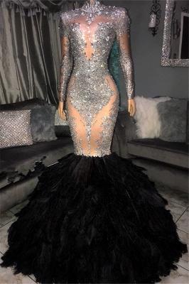 Sexy Sliver Seuqins High Neck Long Sleeves Fur Elegant Mermaid Prom Dress UKes UK UK_1