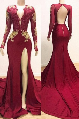 Alluring Deep V-neck Long Sleeves Lace Appliques Split Elegant Trumpt Evening Dress UKes UK_1