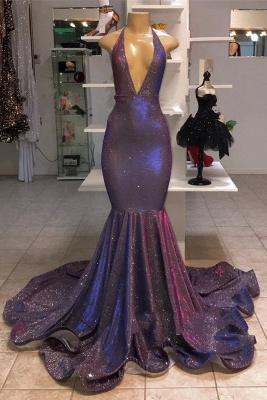 Elegant Alluring Deep V-neck Sleeveless Prom Dress UKes UK UK   Halter Memaiad Sequins Evening Dress UKes UK_1