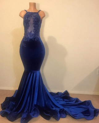 Elegant Hot Mermaid Spahgetti-Straps Backless Velvet Applique Prom Dress UK_1