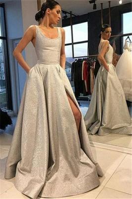 Silver Luxury A-line Sleeveless Prom Dress UKes UK UK_1